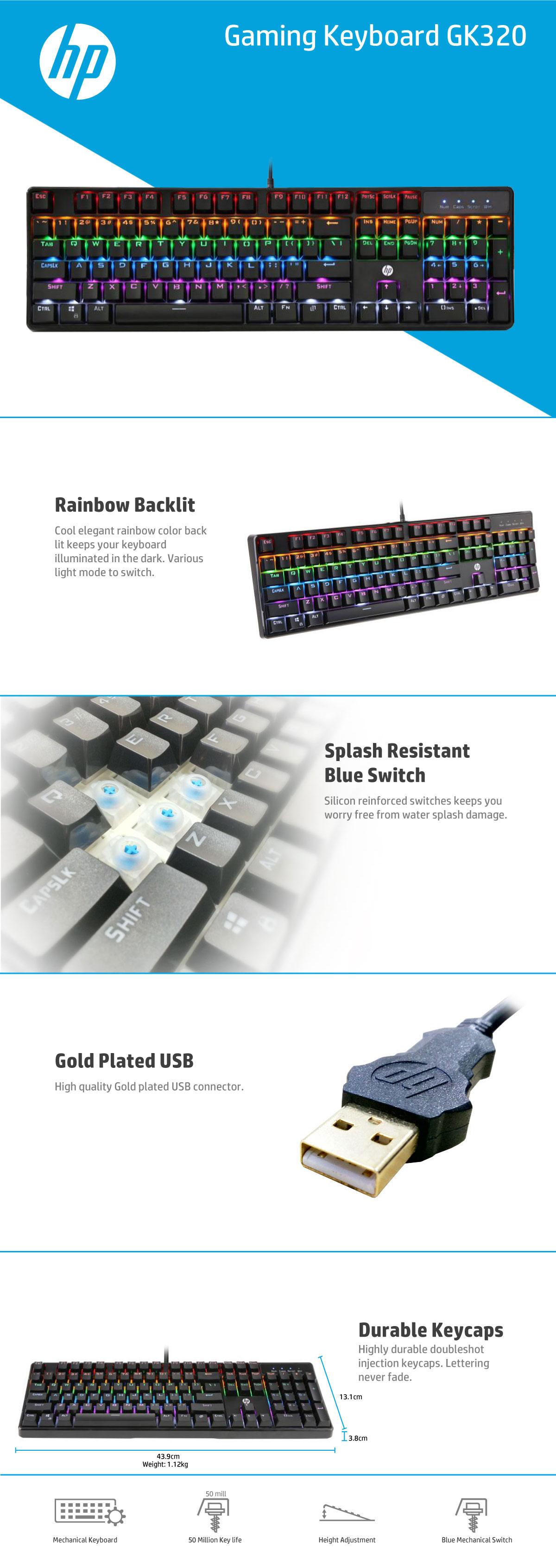 HP GK320 mechanical gaming keyboard